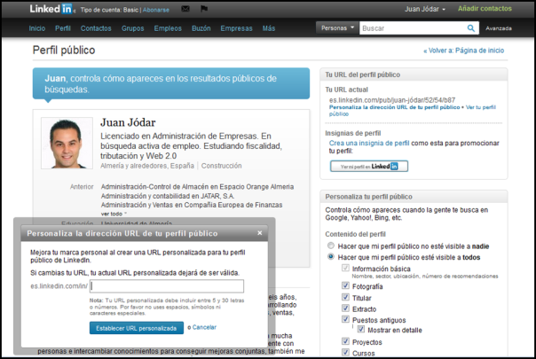 Modificando mi URL LinkedIn