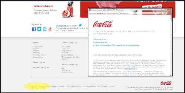 Politica de privacidad Coca Cola